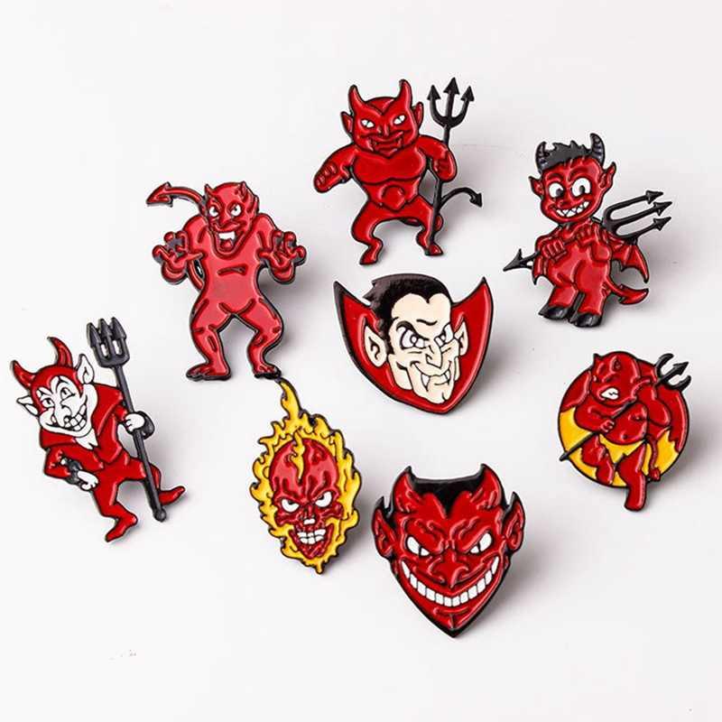 귀여운 악마 에나멜 핀 만화 붉은 악마 브로치 옷깃 핀 데님 배낭 셔츠 가방 재미 배지 펑크 쥬얼리 선물