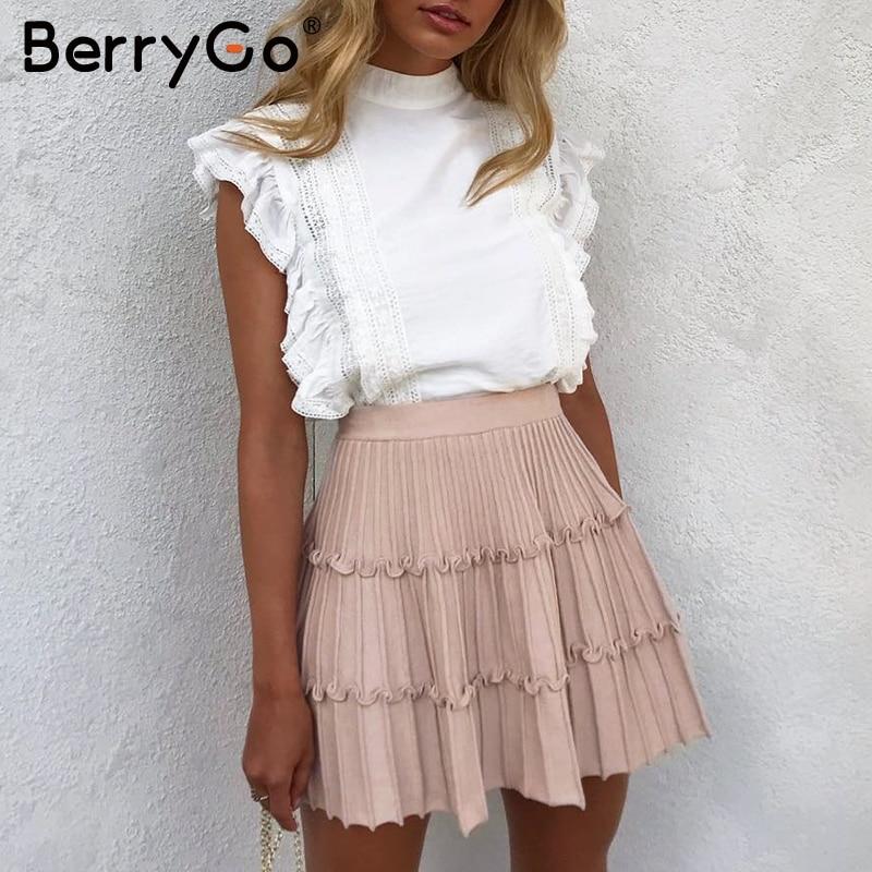 BerryGo Elegant Stripe Knitted Skirt Womens High Waist A Line Ruffled Skirt Female Autumn Winter Sweet Pink Ladies Skirts 2019