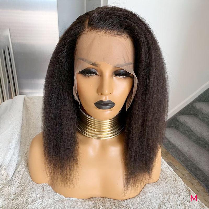 13x4 crépus droite Perruque 150% Densité Perruque Cheveux humains Pré Plumé Avec Des Cheveux De Bébé M Remy