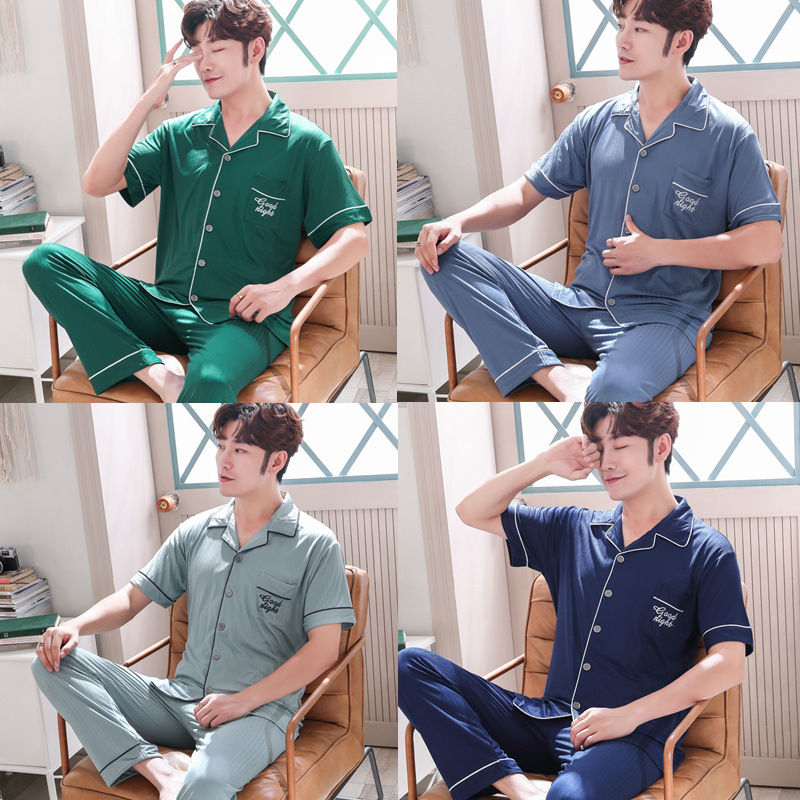 Korean-style Youth Summer Thin Men Pajamas Summer Pure Cotton Short Sleeve Tracksuit Loose And Plus-sized Set 199