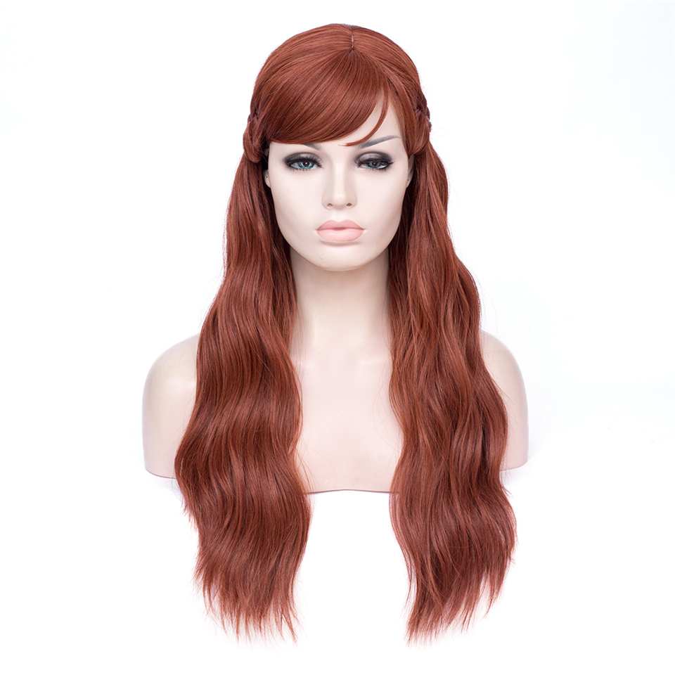 GAKA Long Wavy Brown Wig Heat Resistant Wig Cosplay Wig for Women With Free Wig Cap