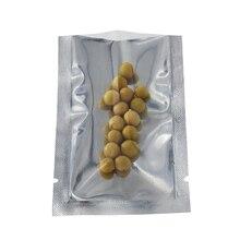 200pcs/lot 8x12cm Flat Open Top Aluminum Foil Package Bags Heat Sealable Front Clear Plastic Vacuum Food Storage Pouches