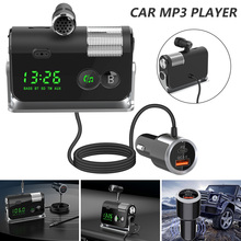 Bluetooth 5.0 Car Kit Handsfree FM Transmitter AUX Audio Rece Car MP3 Player QC3.0+PD 18W USB Charger with Removable Mic