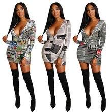 Женское мини платье с принтом газет сексуальное осеннее глубоким