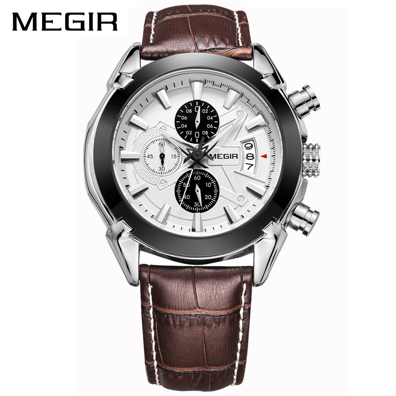 <font><b>MEGIR</b></font> Brand Luxury Fashion Leather Strap Quartz Men Watches Casual Date Business Male Wristwatches Waterproof Clock Mens Watch image