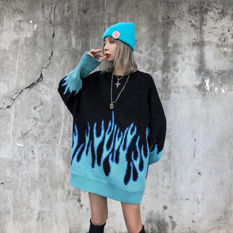 Autumn And Winter Japanese Harajuku Korean Loose Knitted Blue Flame Men Women Hip Hop Streetwear O-neck Pullover