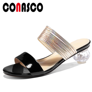 CONASCO 2020 Summer New Women Sandals Slippers Pumps Genuine Leather High Heels Narrow Band Fashion Concise Casual Shoes Woman