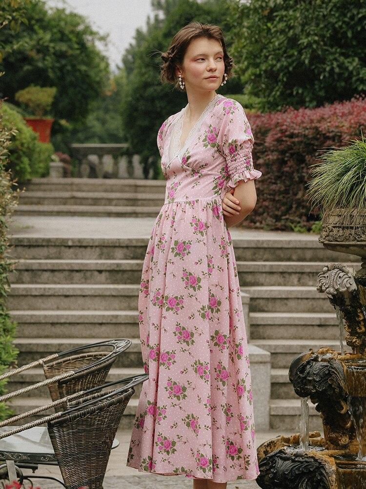 Original Design AIGYPTOS Summer Women Vintage Elegant Slim Floral Print Chiffon Long Dresses Lace V-Neck Sweet Pink Purple Dress