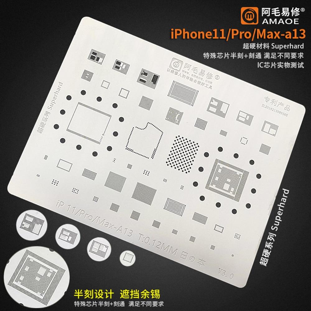 Amaoe Planting Tin Net BGA Reballing Solder Stencil For IPhone 8 Plus X XS 11 Pro Max A11 A12 A13