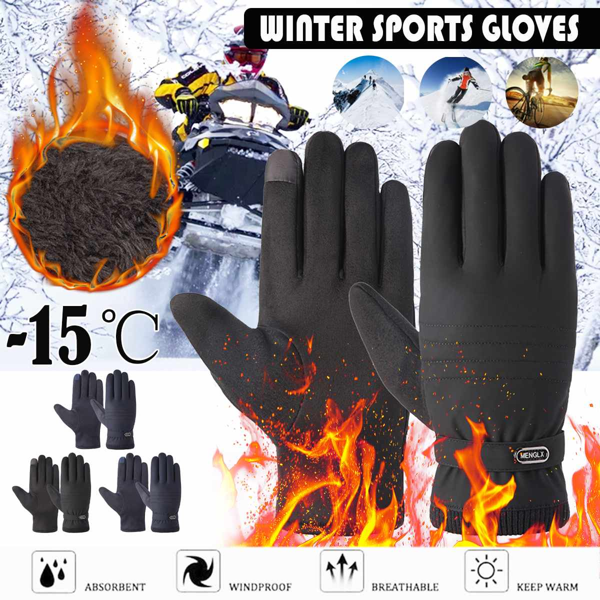 -15 Degree Winter Warm Thermal Gloves Ski Snow Snowboard Gloves Cycling Touchscreen Waterproof Winter Gloves For Men Women