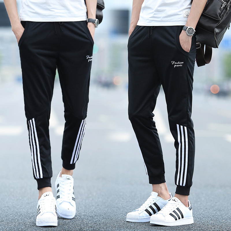 2017 Students Skinny Sports Ninth Pants Teenager Summer Men's 9 Points Casual Pants Summer Trousers