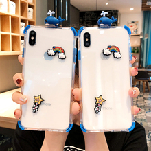 3D Cute Whale Cat claw Cartoon Clear Phone Case For iphone 7 X XR XS Max 8 6 plus Soft Silcone transparent Anti-fall Cover
