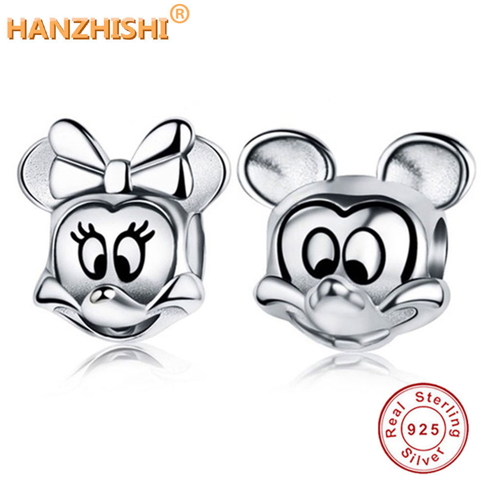DIY Minnie Charms Original 100% Authentic 925 Silver Beads Fit Fine Charms bracelets & Necklaces Jewelry Making Berloque(China)