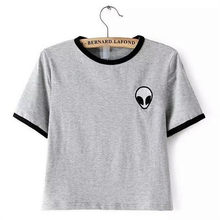 Sondirane New Fashion Short Sleeve Gray Women T Shirts Print Alien Striped Funny Female T-shirt Harajuku Hip Hop Tops Streetwear(China)