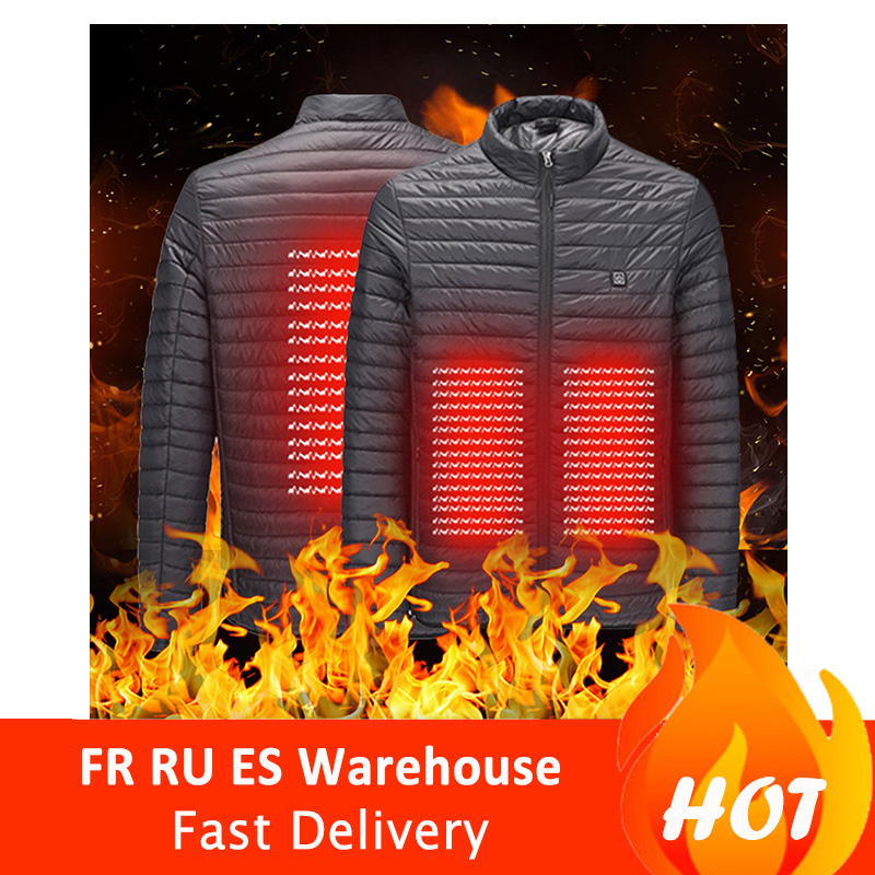 Electric Heated Jacket Man Woman USB Infrared Thermal Jacket USB Interface Heating cotton padded clothes|Hiking Vests| |  - title=
