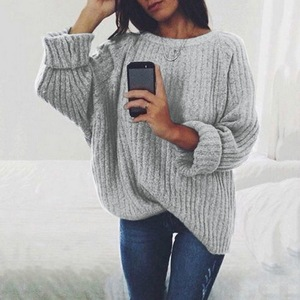 Women Solid O Neck Knitted Sweater 2020 Autumn Winter Fashion Female Pullover Sweaters Ladies Loose Knitwear Dropship