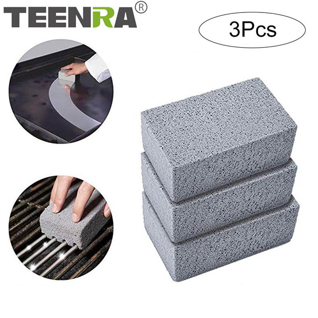 TEENRA 3Pcs BBQ Grill Cleaning Stone Non Slip Handheld Odorless Barbecue Clean Bricks Grill  Removing Stains Brush 1