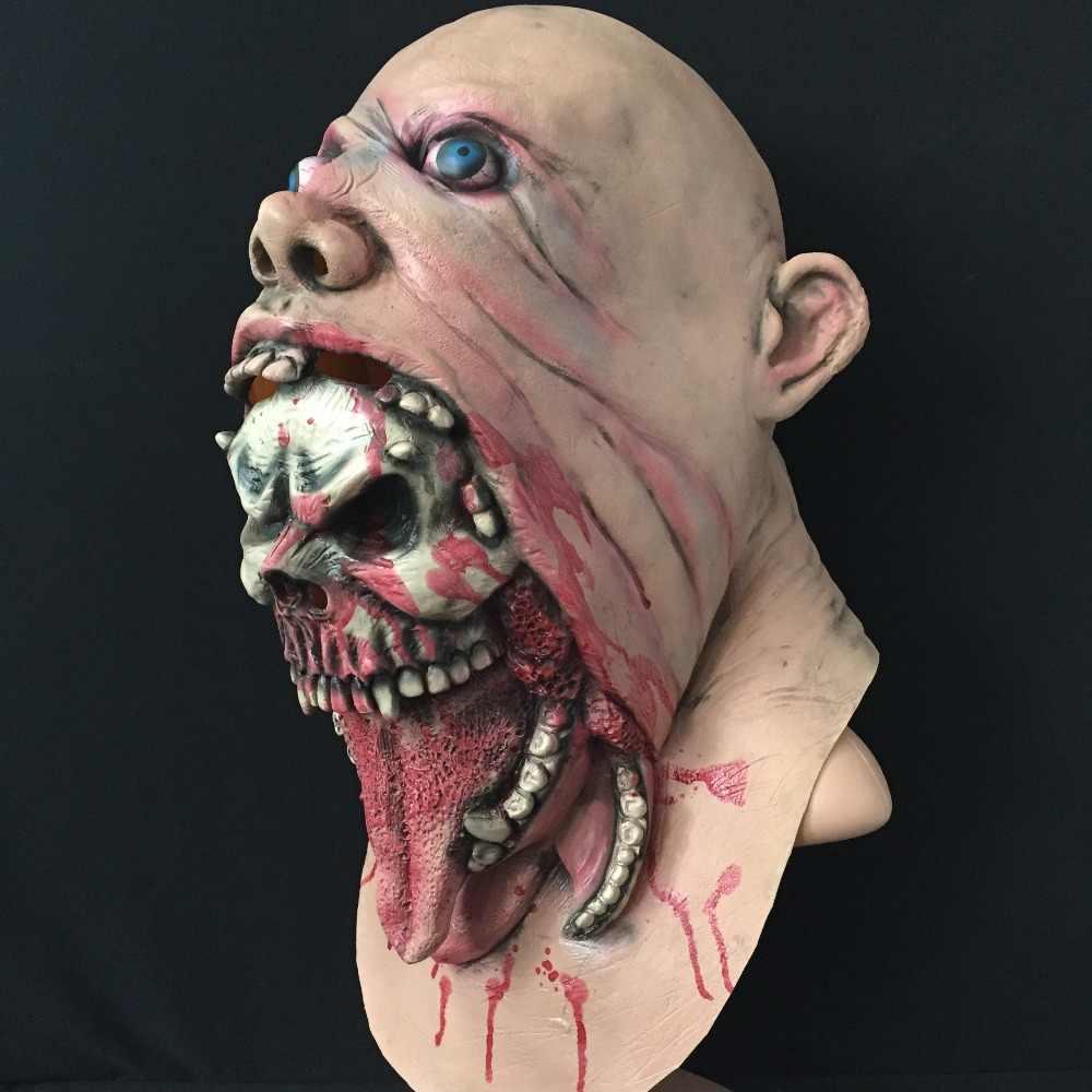 Máscara de miedo Zombie cara completa máscara Facial de Halloween máscara de miedo vestido de lujo fiesta de Horror Oral sangriento máscara de Halloween Carn