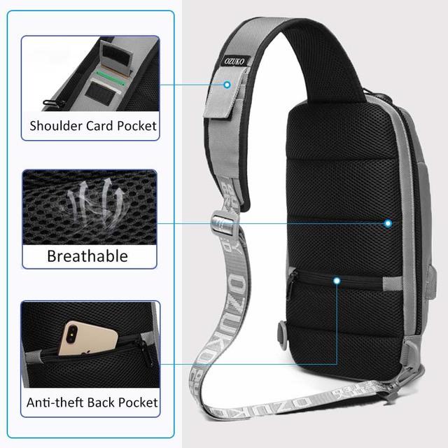 OZUKO Shoulder Bag Men USB Waterproof Messenger Bag Chest Pack Anti-theft Lock Crossbody Bags for Men Sling Bag Fit 9.7″ iPad
