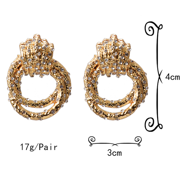 Irregular Metal Gold Rhinestone Dangle Drop Crystal Earrings 6