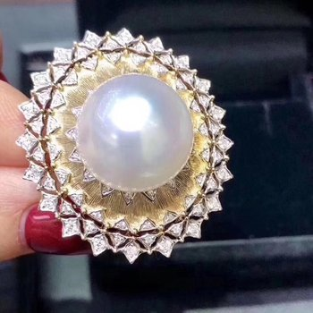 D318 Pearl Ring Nature 11-12mm Fresh Water White Pearls Females Rings For Women Fine Rings Birthday Gifts