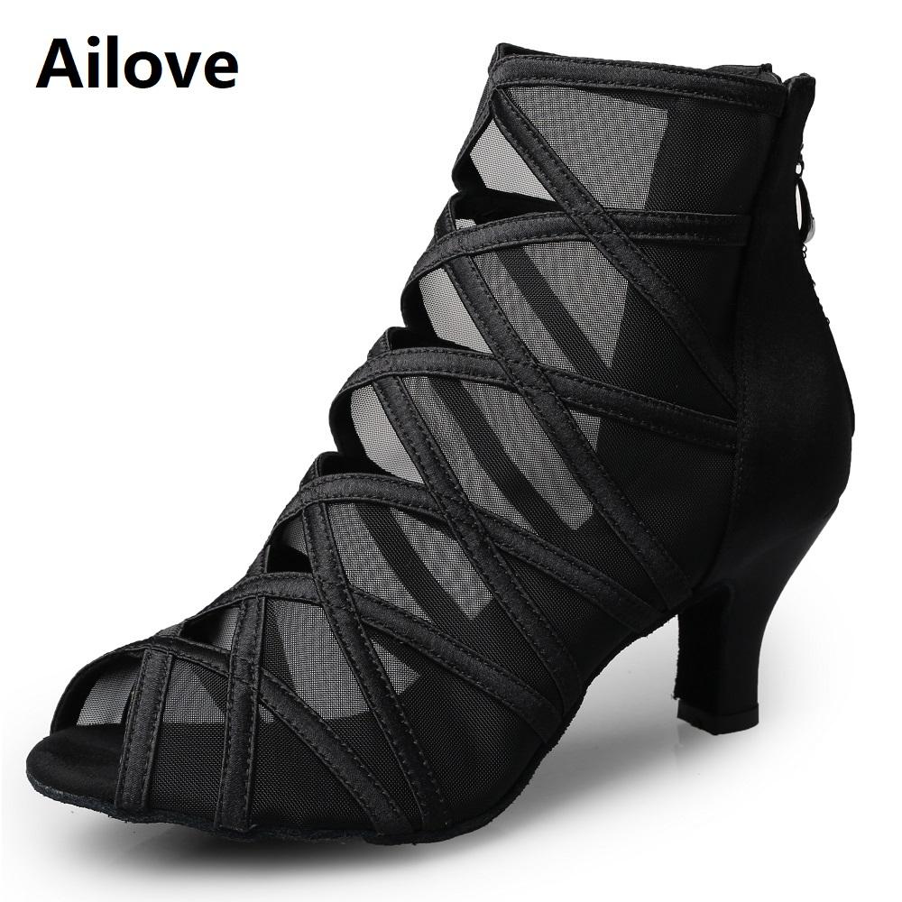 Fashion Ballroom Latin Salsa Dance Boots Women Social Dancing High Heels with Black Mesh Satin Cross Strap S027