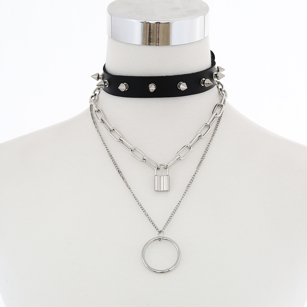 Women Men Jewelry Cool Punk Goth Square Pendant Leather Collares Choker Necklace