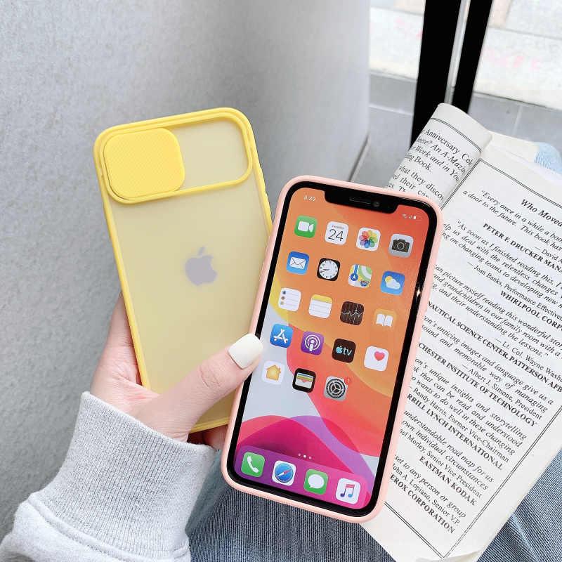 Perlindungan Lensa Kamera Telepon Kasus untuk iPhone 11 Pro Max 8 7 6 6S Plus Xr XsMax X xs SE 2020 Permen Warna Lembut Kembali Menutupi Hadiah
