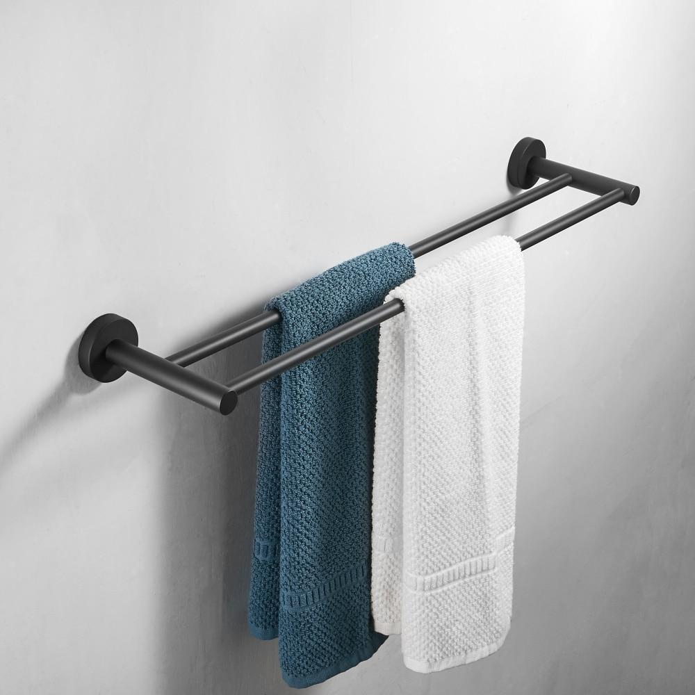 Black Double Arm Towel Holder 304 Stainless Steel Towel Bar Wall Mount Bathroom Towel Rack Hardware Accessory