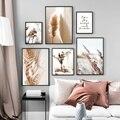 Настенная живопись на холсте, бежевые камышовые сушеные Цветочные растения, скандинавские постеры и принты, пейзаж, настенные картины для д...