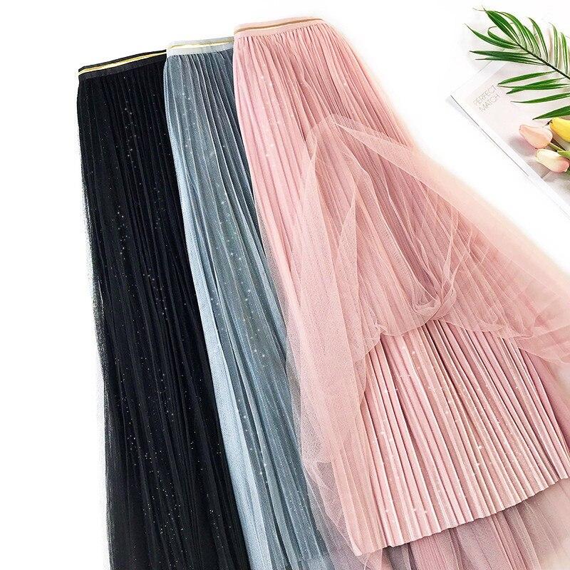Gauze Skirt 2019 Autumn And Winter New Style Shiny Fairy Skirt Fold Stripes Velvet Skirt Base A- Line Long Skirts