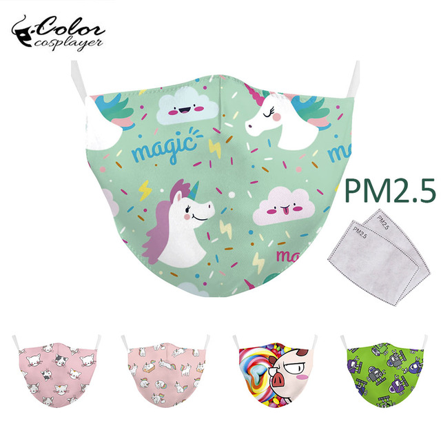 Color Cosplayer Kids Cartoon Face Fabric Masks Pink Cute Cat Print Mask Washable Reusable Children Mask Outdoor