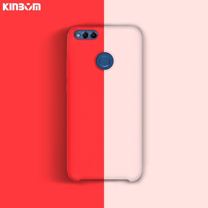 KINBOM Original Liquid silicone Case For Huawei P10 20 30 plus Honor 8X 9 10 v10 Soft Silicone Cover