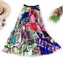 Color Block Long Pleated Skirt Cartoon Fashion Midi Skirts Womens Summer High Waist Tulle A-line Faldas Largas Mujer