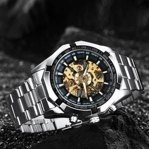 Image 3 - 수상작 공식 클래식 자동 시계 남자 해골 기계식 시계 톱 브랜드 럭셔리 골든 스테인레스 스틸 스트랩