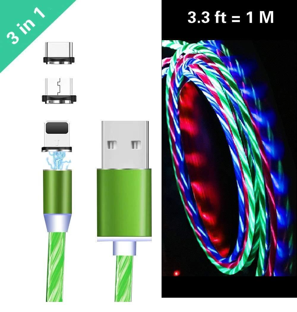 Fanshu 3 в 1 Магнитный USB кабель высокоскоростной USB для Micro type C зарядное устройство IOS кабель светодиодный свет для iphone Lightning Кабель