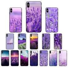 FHNBLJ Einfache lavendel Lila blumen Nach Foto Weiche Telefon Fall für iPhone 11 pro XS MAX 8 7 6 6S Plus X 5 5S SE XR SE2020