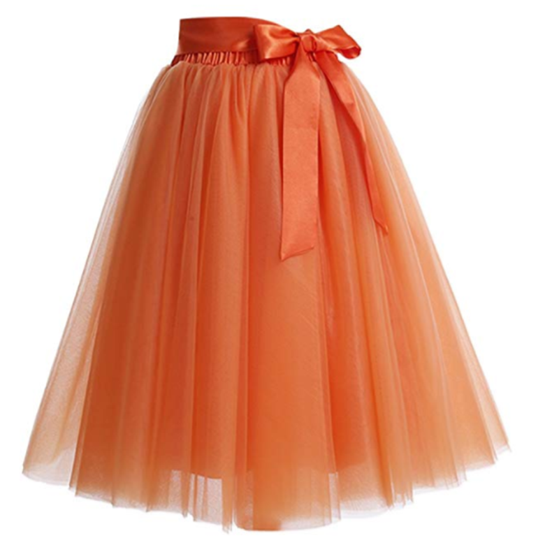 Summer Style 6 Layers Knee Length Tutu Tulle Skirt High Elastic Waist Swing Ball Gown Pleated Skater Skirts Saias Jupe