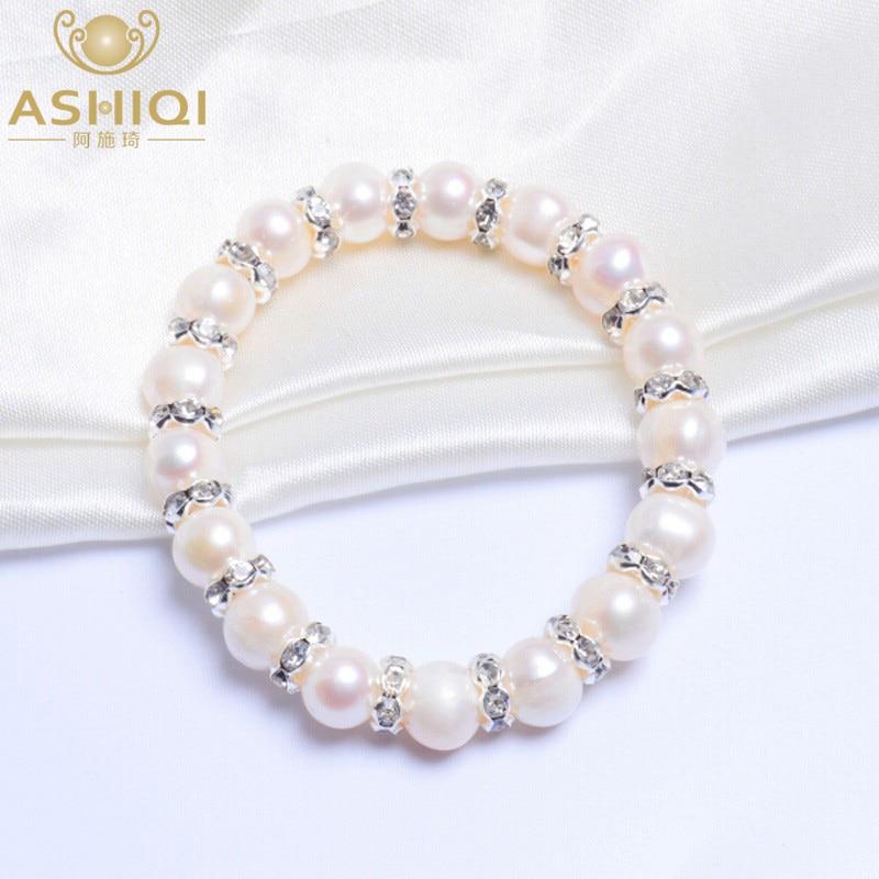 ASHIQI 8-9mm Real Freshwater Pearl Bracelets For Women Charm Bohemian