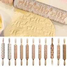 35x4.5cm Christmas Rolling Pins Rock Snowflake Elk Wooden Embossing Baking Cookies Biscuit Fondant Cake Patterned Roller