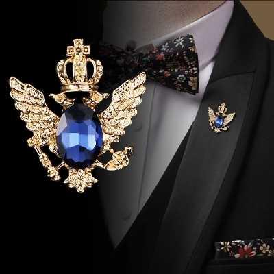 I-Remiel โบราณขนาดเล็ก Crown double-headed Eagle ปีกเข็มกลัดแฟชั่นชาย Corsage คริสตัลโซ่พู่ badge PIN