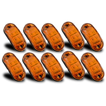 10Pcs Amber 2LED DC 10V-30V Car Trailer Truck Side Marker Light Clearance Lamp Waterproof Side Marker Indicator Trailer Light цена 2017