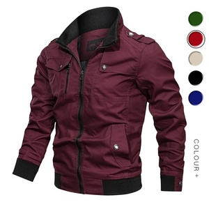 Image 4 - Men Bomber Jackets Multi Pockets Autumn New Casual Mens Military Pilot Coats Solid Stand Collar Cargo Outwear Windbreaker Male