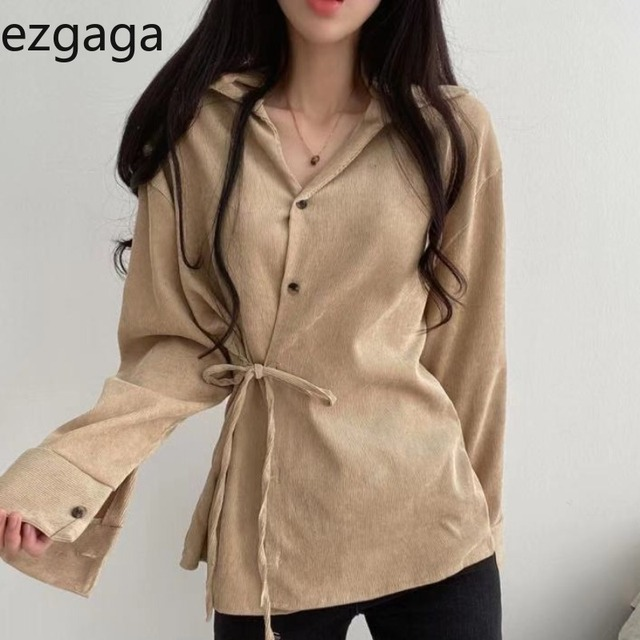 Ezgaga Lace Up Shirts Women 2020 Autumn Korean Slim Waist Button Solid Chic Turn-Down Collar Ladies Tops Fashion Streetwear 1