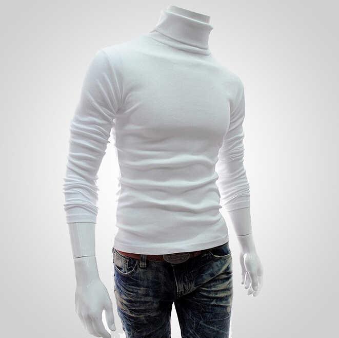 Zima gruby, ciepły sweter męski z golfem koszulka męska Slim Fit swetry swetry z dzianiny wysoka Neck Jumper męskie topy