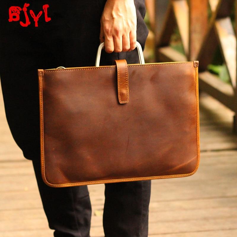 Leather Men's Bag Horizontal Section Men Briefcase Ultra-thin Document Bag Male Laptop Bag Retro Crazy Horse Leather Handbags