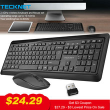 TeckNet 2.4Ghz Wireless Keyboard Mouse Set Combo Ergonomic 107 Keys Keyboard Quiet 1600DPI Mouse Kit UK Layout for PC Laptop original cantanse wireless keyboard mouse combo set black sliver keyboard with number key high quality for ipad