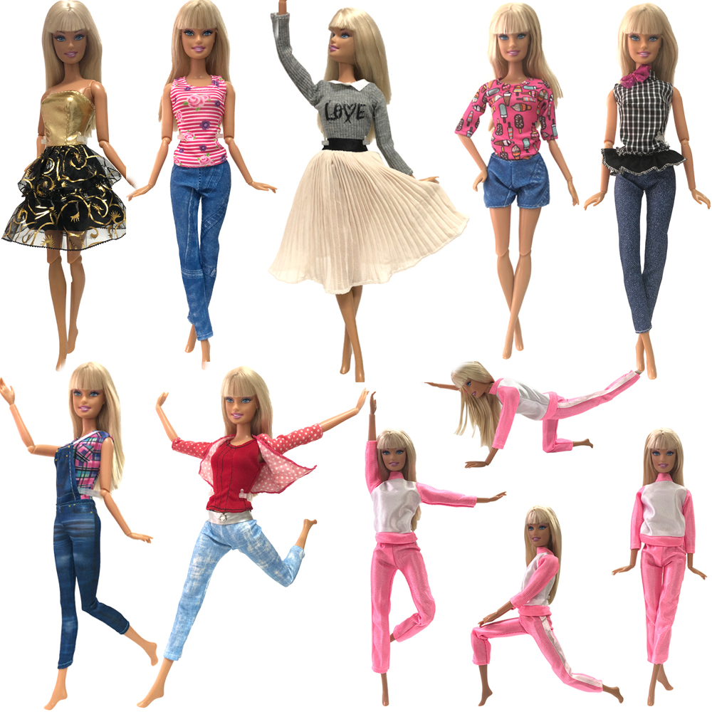 NK2020 One Set Doll Fashion Clothing Noble Fashionable Outfits Casual Suits For Barbie Doll Accessories Children Toys Gift JJ DZ