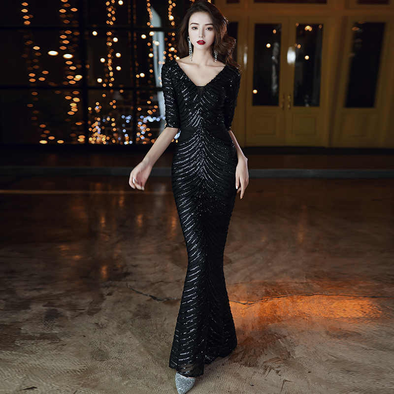 Wei Yin AE0347 ไวน์แดงชุดราตรี 2020 ครึ่งแขน V คอ Sparkle Elegant Little Mermaid ยาวอย่างเป็นทางการ PARTY PROM Gowns