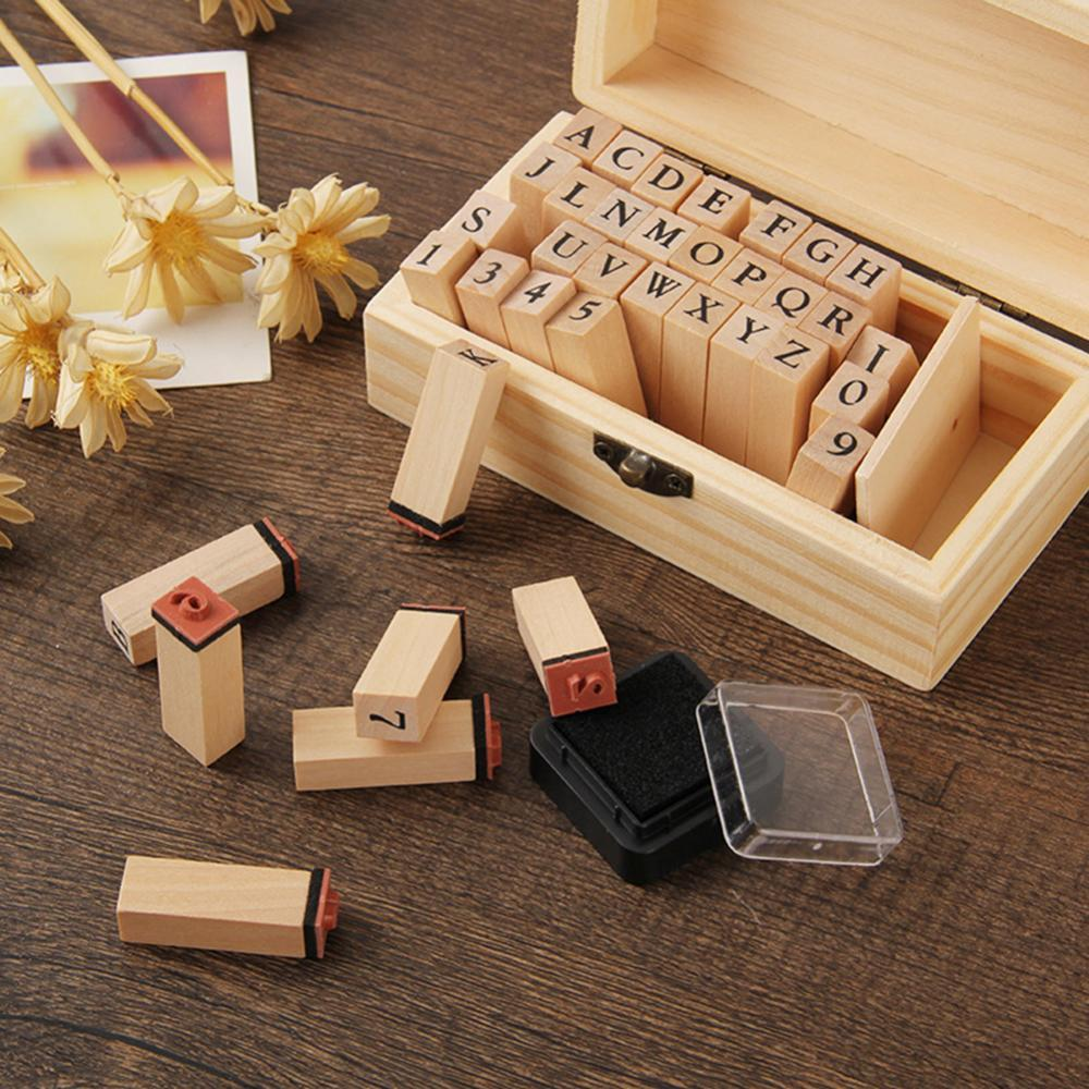 50% Off 36Pcs/Set DIY Handmade Wooden Numbers English Letters Stamps Seal Diary Decor